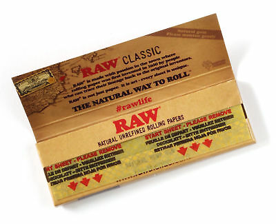 6 packs RAW CLASSIC Natural UNREFINED rolling paper size 1 1/4