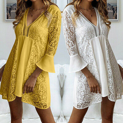 Women Sexy Lace Sundress Gown Beach Club Party V Plunge Plus Size Mini Dress HOT