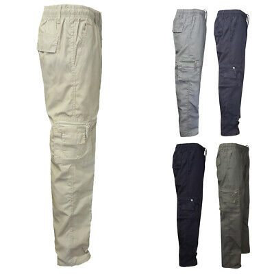 Mens Lightweight Elasticated Waist Cargo Trousers Combat Work Pants Bottoms