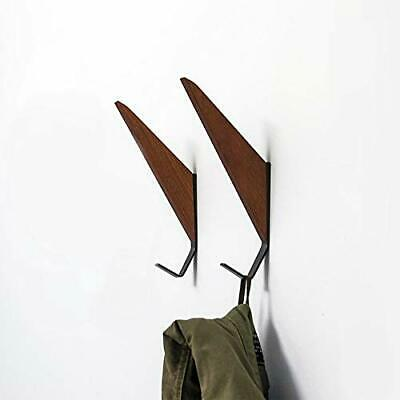 Mid-Century Modern Wall Coat Hooks Solid Teak Iron Storage Hanger Wood