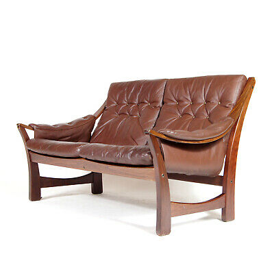 Retro Vintage Danish Leather Rosewood 2 Seater Love Seat Sofa 70s Scandinavian