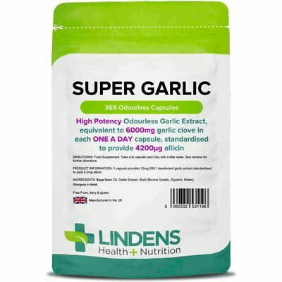 Lindens Super Garlic 6000mg Odourless High Strength 365 capsules [Lindens 1196]
