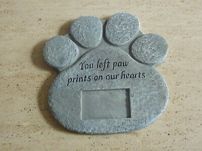 Pet Memorial Plaque Stone YOU LEFT A PAW PRINT ON OUR HEARTS Grave Remembrance