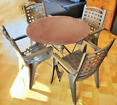 SALON DE JARDIN : Table ronde bistrot FERMOB 96cm + 4 ...