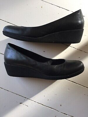 Black Leather Wedge Shoes 37