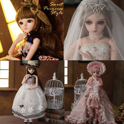 60cm 1/3 BJD Doll Ball Jointed Girl Dolls Free Eyes Face Makeup Wig Clothes GIFT