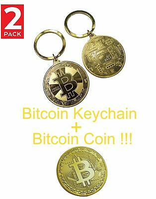 NEW BTC Bitcoin Keychain Gold Plated Commemorative Souvenir 2 Pack
