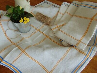 Antique Unused Hand Woven Organic Linen Country Kitchen Towel Shamrock Pattern