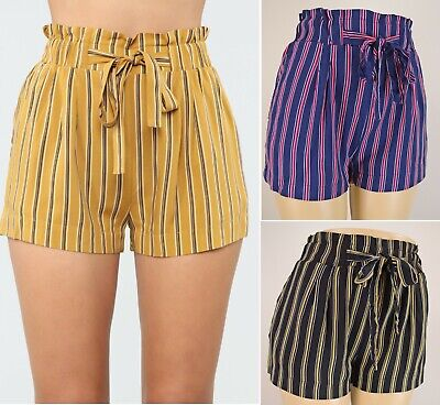Women's High Waist Paperbag Shorts Striped Soft Loose Casual Pockets Belted