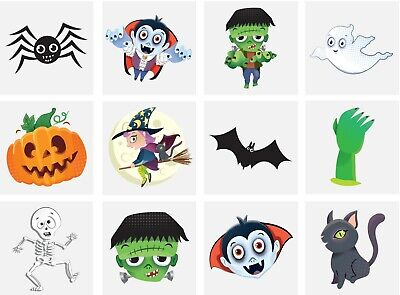 1 Packs of 12  Halloween Temporary Tattoos Kids Boys Girls Halloween Party Bag