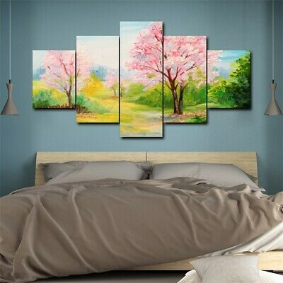5Pcs Spring Nature Landscape Peach Tree Green Plants Poster Modern Painting HD