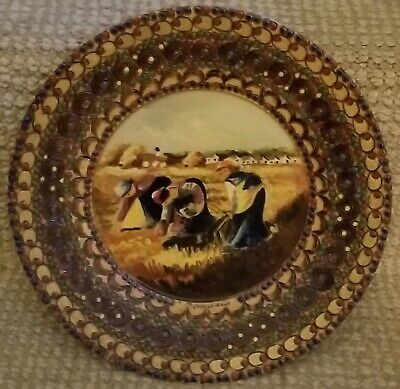 """Wooden Plate 9"""" Carved Hand Painted Small Round Wooden Decoration Wall Plate"""