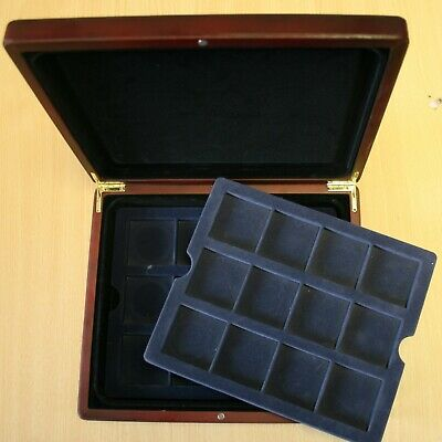 Quality Wooden Coin Cases, 2 Layers to Fit 24 Coins To Crown Size Brass Fittings