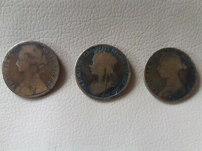 Bunch Of 3 Antique Vintage English Bronze Large Coins Dated Before 1896