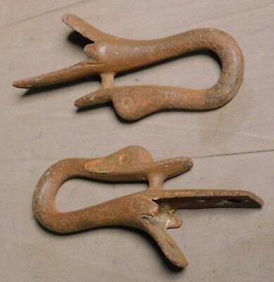 Antique Cast Iron Victorian Duck Goose Finial Boys Childs Sled Finials Toy Pair