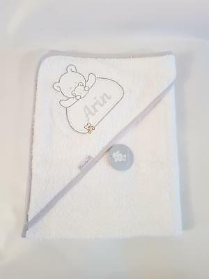 personalised SPANISH WHITE/BLUE TRIM Beautiful Embroidered Baby Hooded Towel