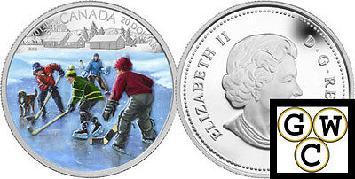 2014 'Pond Hockey' Colorized Proof $20 Silver Coin 1oz .9999 Fine (13333)
