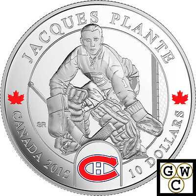 2015 Jacques Plante-Legendary Goalies Color Prf $10 Fine Silver 1/2oz(17473)NT