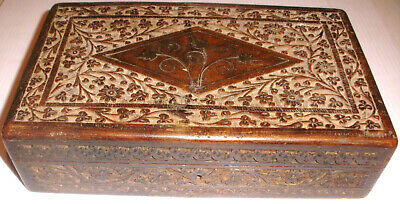Nice Antique 19thc middle east Arabic jewelry document hand carved wood box