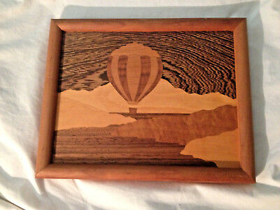 "Intarsia Inlay Wood Picture Hot Air Balloon 8 5/8"" x 10 3/4"" Framed"