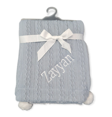 Personalised Luxury Baby gable pom pom  Blanket Embroidered Boy Girl Gift new!!