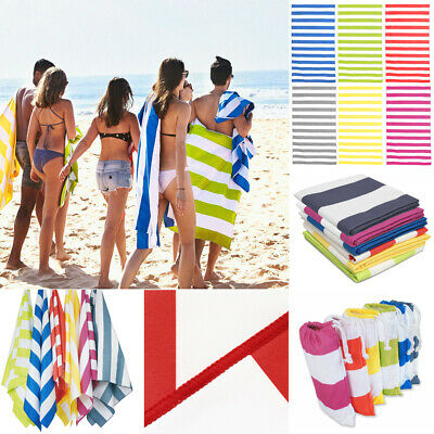 Extra Large Microfibre Beach Towels Striped Bath Towel Speed Dry Lightweight UK