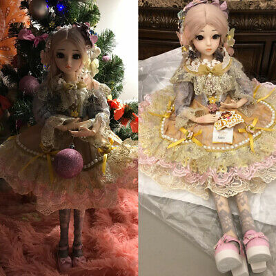 Christmas Gift BJD Doll 1/3 Handmade Girl Dolls with Face Makeup Wig Clothes Toy