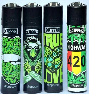 4 x Clipper Lighters GIRL WEED 420 Gas Lighter RARE Refillable SET ++ * NEW**