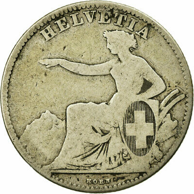 [#513095] Coin, Switzerland, 2 Francs, 1860, Bern, VF(20-25), Silver, KM:10a