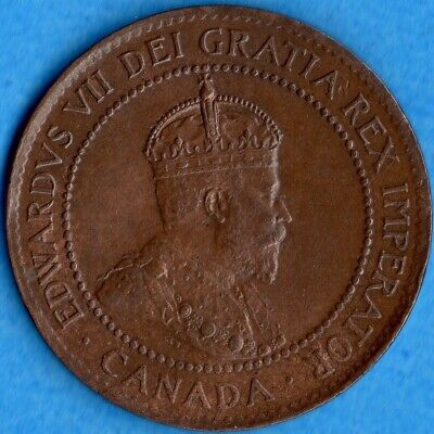 Canada 1904 1 Cent One Large Cent Coin - EF/AU