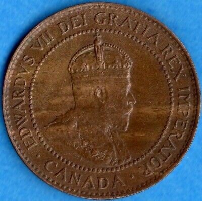 Canada 1906 1 Cent One Large Cent Coin - EF/AU