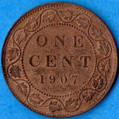 Canada 1907 1 Cent One Large Cent Coin - EF (corrosion)