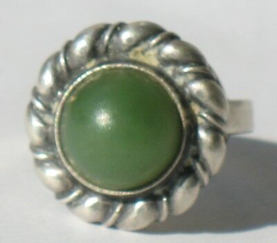 Russian Sterling 925 Silver Ag Filigree Ring sz 9.5 Green Stone Jade Nephritis A