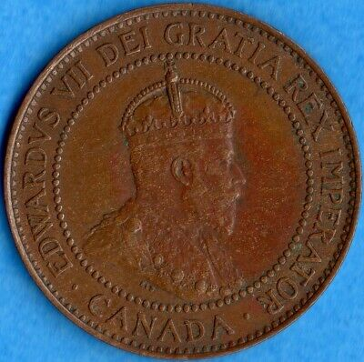 Canada 1908 1 Cent One Large Cent Coin - EF