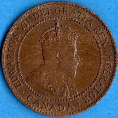 Canada 1909 1 Cent One Large Cent Coin - EF/AU