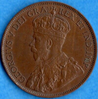Canada 1913 1 Cent One Large Cent Coin - EF+ (light corrosion)