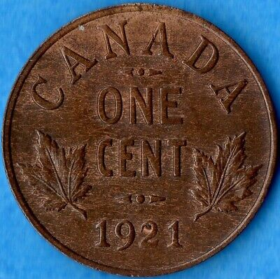 Canada 1921 1 Cent Small Penny Coin - AU
