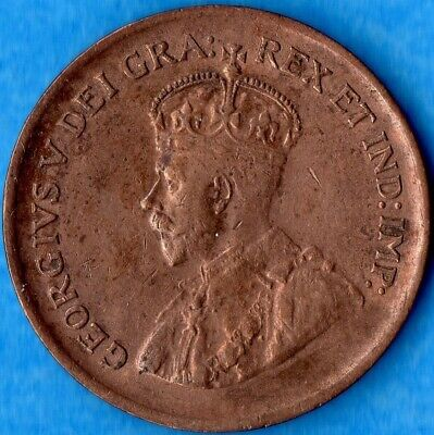Canada 1929 1 Cent Small Penny Coin - AU (cleaned)