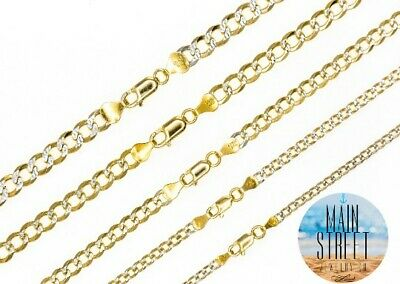 14k Gold Over SOLID 925 Sterling Silver Diamond Cut CURB Cuban Chain Necklace