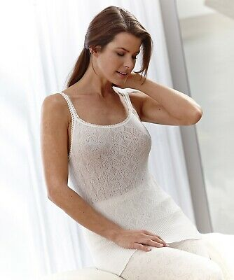 New Thermolactyl By Damart Fancy Knit Jacquard Camisole. Large. White.