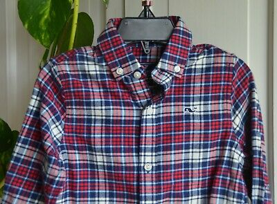 Nwt $55 Vineyard Vines Toddlers L/s Whale Flannel Shirt Size 2T
