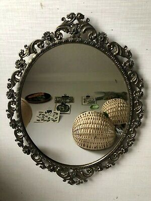 Vintage Italian/french Rocco Style Oval ornate Dull Gold metal frame Wall Mirror