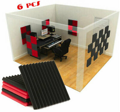 6 Pack Soundproofing Acoustic Studio Foam Wedge Panels Colors Red And Black SALE