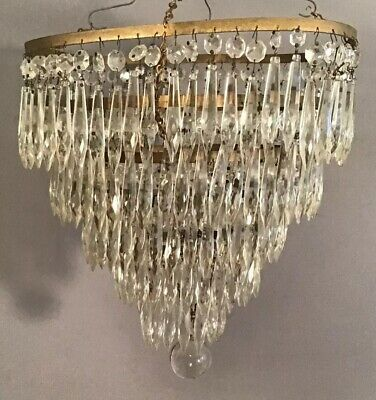 Antique ART DECO Era WATERFALL Style GLASS CRYSTAL PRISM Old PROJECT CHANDELIER