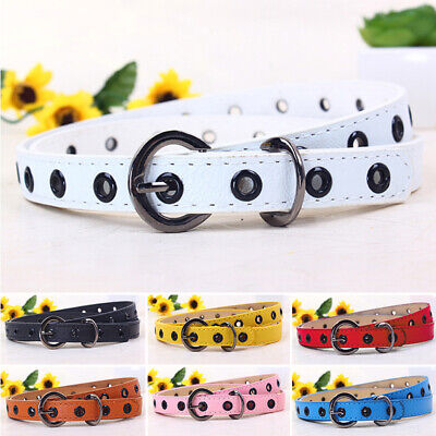 Candy Color Waistband Kids Belt Buckle PU Leather Girls New 2018 High Quality
