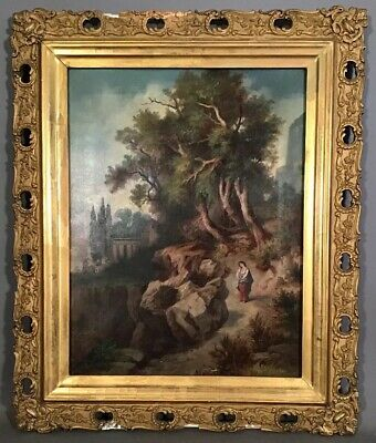 19thC Antique VICTORIAN Era MASTERS Style LADY Figural LANDSCAPE PAINTING Frame