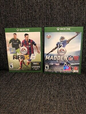 FIFA 15 + Madden 16 XBOX ONE EA Sports Game Lot OBJ Cover Messi + Dempsey Cover