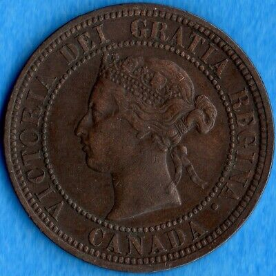 Canada 1876 H 1 Cent One Large Cent Coin - VF/EF
