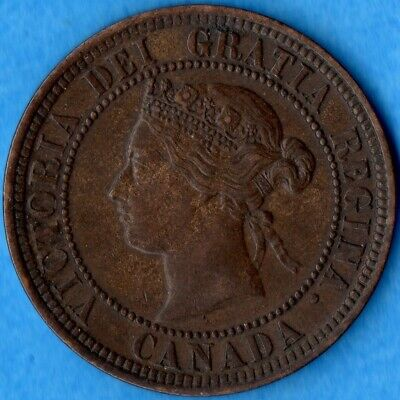 Canada 1881 H 1 Cent One Large Cent Coin - EF/AU