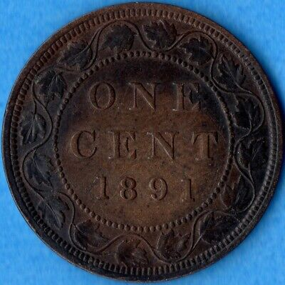 Canada 1891 LD LL 1 Cent One Large Cent Coin - VF/EF